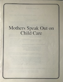 Cover of policy paper: Mothers Speak Out on Child Care