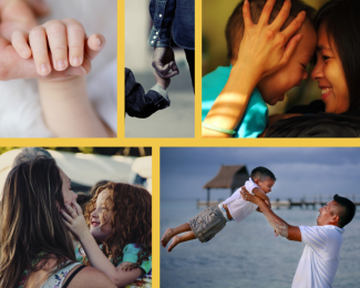 A collage of images of parents and children together; face to face, hand in hand, playing.